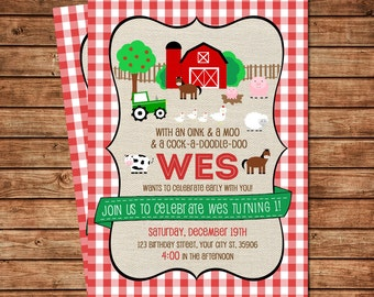 Farm first birthday invitation digital file