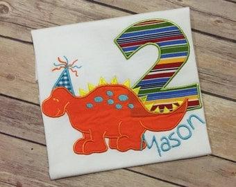 Dinosaur Shirt / Birthday Shirt / Boy Clothes / Birthday Outfit / Boutique Clothing / Birthday Number / Shorts / Pants