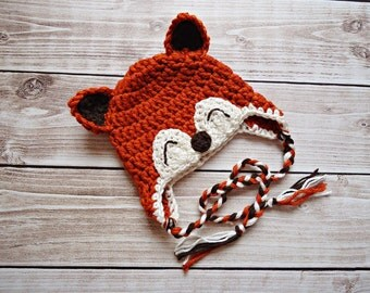 Little Fox Earflap Beanie Available in Newborn to 4 years Size- MADE TO ORDER