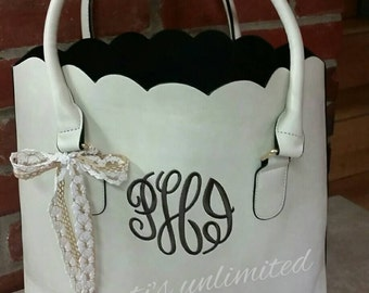 Scalloped handbag. Monogrammed handbag