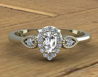 White Sapphire Ring - Pear Diamond Halo - 14k White Gold - April Birthstone Ring - An Original Design by Charles Babb