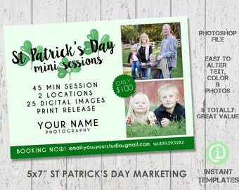 St Patrick's Day Template Marketing Board - Mini Sessions, Photoshop Template - M1P001