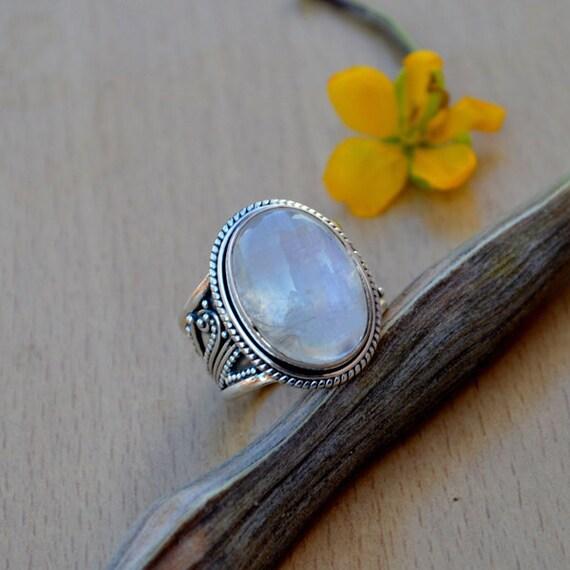 AAA Vibrant Rainbow Moonstone Gemstone Ring -Oval Cab Moonstone Ring - Sterling Silver Rainbow Moonstone Ring - Lovely Gemstone Ring Size 8
