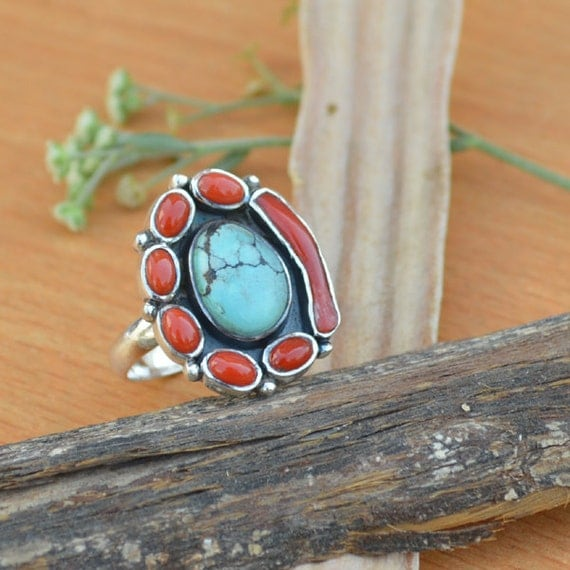 Tibetan Turquoise Ring, Red Coral, Coral Stick Multi Gemstone Ring, 925 Sterling Silver Ring, Bezel Set Ring Size 8, Turquoise Gemstone Ring