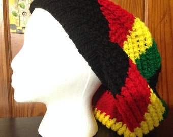 1 - Handmade Knit Rasta Dreadlock Openweave Slouchy Hat in Black/Red/Green/Yellow