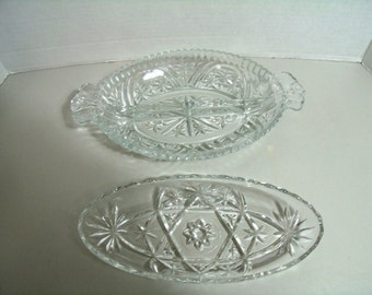 Two Vintage Anchor Hocking American Pressed Glass Relish Dishes