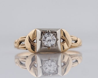 1930's Engagement Ring Art Deco .18ct Old European Cut Diamond in 14k Yellow & White Gold
