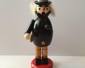 Vintage Wooden Incense Smoker Men Germany Hat Figurine Pipe man Xmas Black Caroler