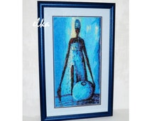 "Embroidered picture ""Africa in Blue"" / Вышитая картина ""Африка в голубом"""