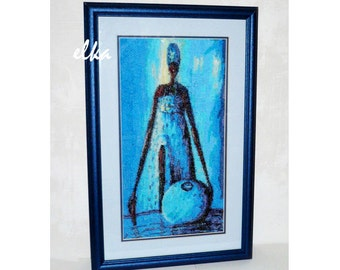"""Embroidered picture """"Africa in Blue"""" / Вышитая картина """"Африка в голубом"""""""