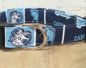 North Carolina Tar Heels dog collar, Tar Heel dog collar, North Carolina dog collar, Tar Heels Martingale dog collar, Tar Heels dog collar