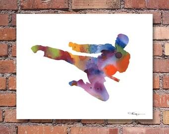 Karate Art Print - Abstract Watercolor Painting - Wall Decor