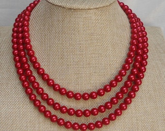 Red Pearl Necklace,Triple Strands Necklace,Wedding Jewelry, Glass Pearl Necklace, Pearl Necklace,Pearl Necklace,Bridesmaid Necklace