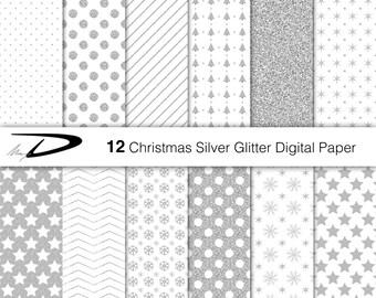 Christmas silver glitter digital paper-silver digital paper-glitter digital paper-christmas glitter silver wallpaper-Christmas digital paper
