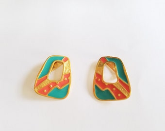Vintage Abstract Clip On Earrings in Peach and Teal Colors