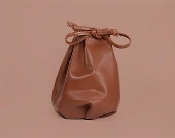"Brown Bucket Bag ""Mackenzie Choco"", Leather Drawstring Bag, Simple Purse, Boho Bag, Leather Crossbody bag, Shoulder Bag, Handmade Bucket Bag"
