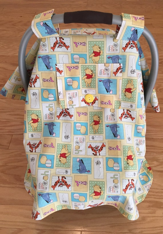 winnie the pooh gender neutral car seat cover canopy. Black Bedroom Furniture Sets. Home Design Ideas