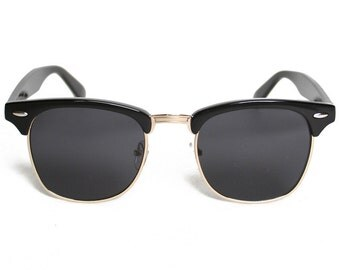 Vintage Clubmaster Style Wayfarer Black Frame Rim Sunglasses, Sunnies Eyewear Retro Risky Business Lens 1980s Sunglasses