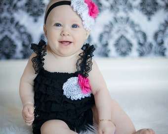VDAYSALE Black lace petti romper, black romper, black lace romper, black baby outfit, black and pink lace baby outfit,lace romper, lace pett