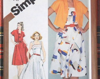 9892 Simplicity Size 10 Bust 32 1/2 Vintage 1980 Sundress Bolero Jacket Sewing Pattern