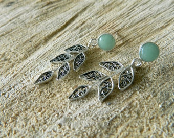Handcrafted fine silver filigree earrings with green aventurine