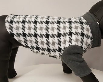 Black and gray hounds tooth fleece jacket