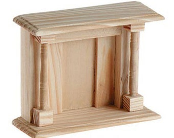 Wood Fireplace Unfinished Dollhouse Miniature Furniture - 575