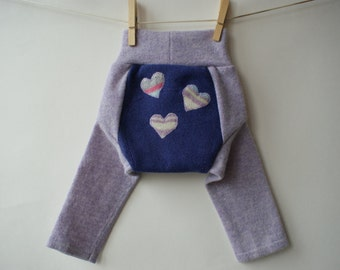S size upcycled wool LONGIES/  wool diaper cover/ soaker/ hearts applique
