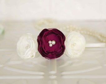 Flower girl headband, vintage inspired ivory and berry lace