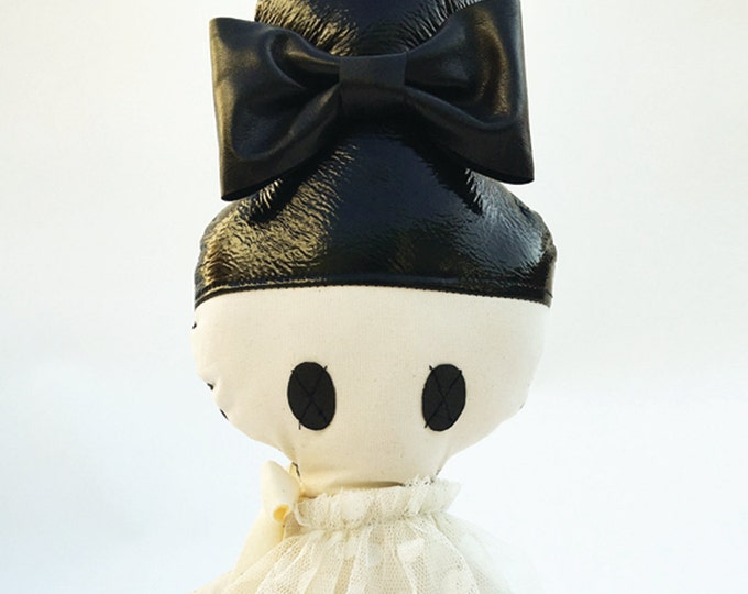Topknot leather and cloth doll