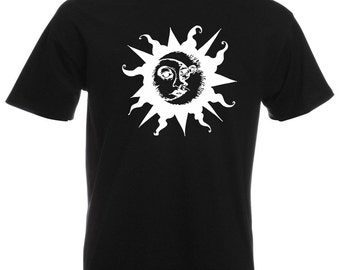 Mens T-Shirt with Sun & Moon Design / Ethical Symbol Shirts / Crescent Day and Night Joga TShirt + Free Random Decal Gift