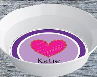 Girls Melamine Bowl, Personalized Snack Bowl for Girls, Custom Melamine Snack Bowl, Pink Heart Toddler Bowl, Valentine's Day Theme Bowl