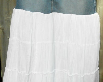 ReFashioned Jean Skirt with Long White Tiers-Lined, Eco Clothing, RePurposed, Upcylced Clothing, Boho skirt