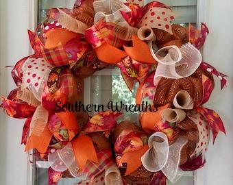 Deco MeshFall Wreath~ Front Door Wreath~ Fall Door Decoration~Deco Mesh Fall Wreath~ Door Wreath~Autumn Wreath~