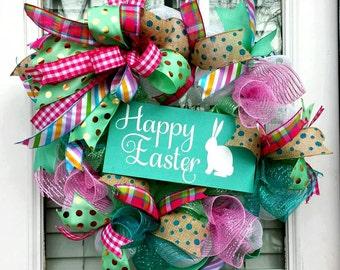Happy Easter Deco Mesh Wreath~Easter Bunny Front Door Wreath~ Bunny Easter Teal Door Gathering Decoration
