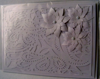 Blanca white and paisely white cutout. 5x7 handcrafted card.