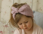 CROCHET PATTERN bow headband headwrap Eileen with a big bow (newborn/ baby/ toddler/child/adult sizes)