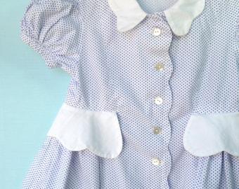 Best Ever Vintage 1940's White Dotted Toddler Peplum Dress    Handmade  18 Months
