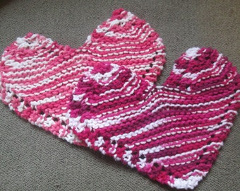Knitted Heart Washcloth