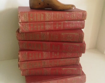 Vintage Red Shabby Books, The New Human Interest Library Set