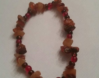 Orange Stone Glass Bead Bracelet