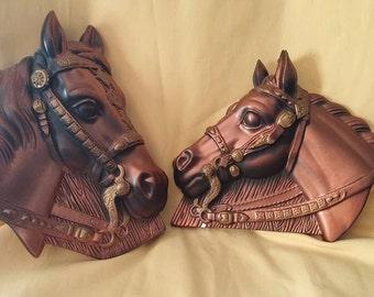 Chalkware Horse Heads