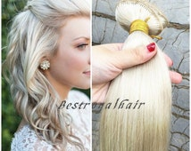 14 Inches White Blonde Body Wavy Hair Extension, 18 Clips Indian Remy Clips in Hair Extensions RHS023