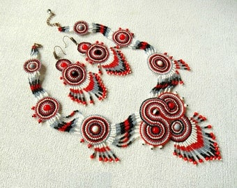 Native American styled set/ tribal jewelry/ long beaded necklace/ bead-woven jewelry earrings/ boho jewelry/ bohemian ethnic gypsy southwest
