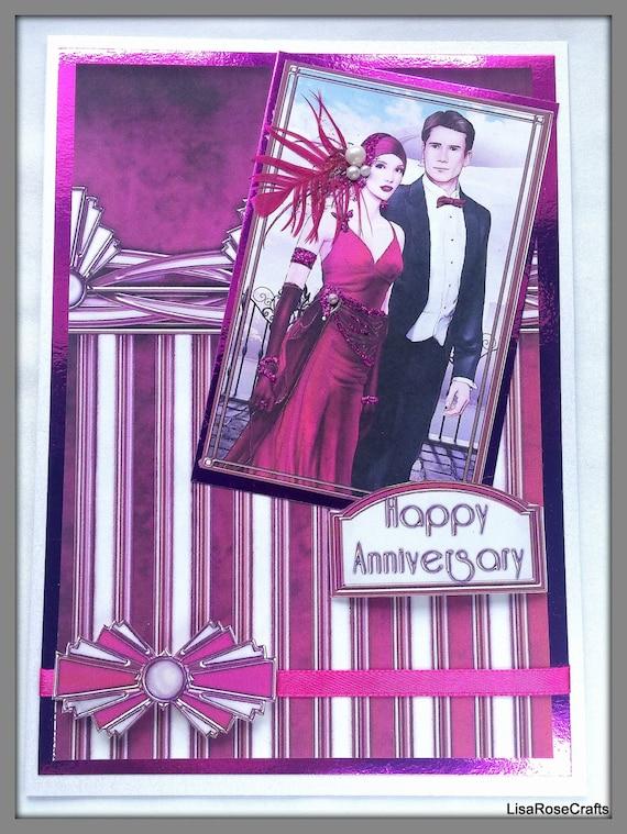 Art Deco Anniversary Card Happy Anniversary Purple