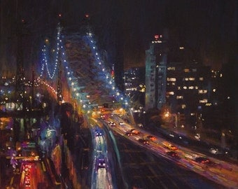 59th Street Bridge, Nocturn (View from the Tram), - fine art giclée print of an original Impressionist painting by Robert Padovano