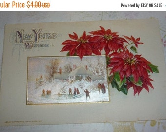 New Years Scene With Snowy Scene and Poinsettias Happy New Year Winsch Antique Postcard