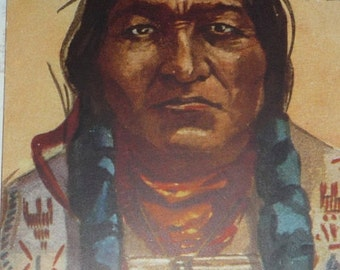 Chief Sitting Bull Native American Indian Unused Antique Postcard U/S L.  Peterson