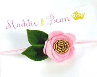 Felt Baby Headband, Newborn Headband, Baby Flower Headband, Baby Felt Flower Headband, Pink Flower Headband, Baby Headband, Baby Girl