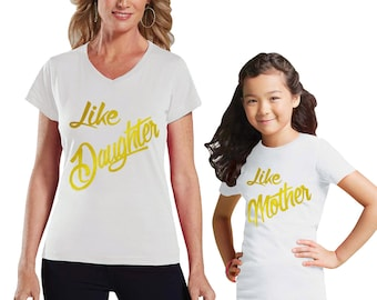 Like Mother - Like Daughter Metallic Gold Mommy and Daughter Shirt Set